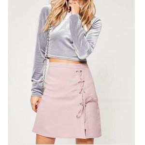 • purple textured lace up side detail mini skirt •